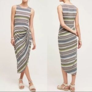 Anthropology Bailey44 striped side knot midi dress